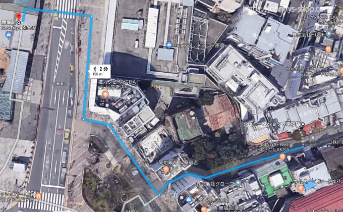 ジャニーズショップ原宿までの地図